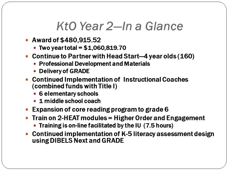 KtO Year 2—In a Glance Award of $480,915.52 Two year total = $1,060,819.70 Continue to Partner with Head Start—4 year olds (160) Professional Development and Materials Delivery of GRADE Continued Implementation of Instructional Coaches (combined funds with Title I) 6 elementary schools 1 middle school coach Expansion of core reading program to grade 6 Train on 2-HEAT modules = Higher Order and Engagement Training is on-line facilitated by the IU (7.5 hours) Continued implementation of K-5 literacy assessment design using DIBELS Next and GRADE