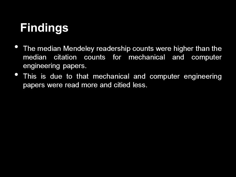 Findings The median Mendeley readership counts were higher than the median citation counts for mechanical and computer engineering papers.