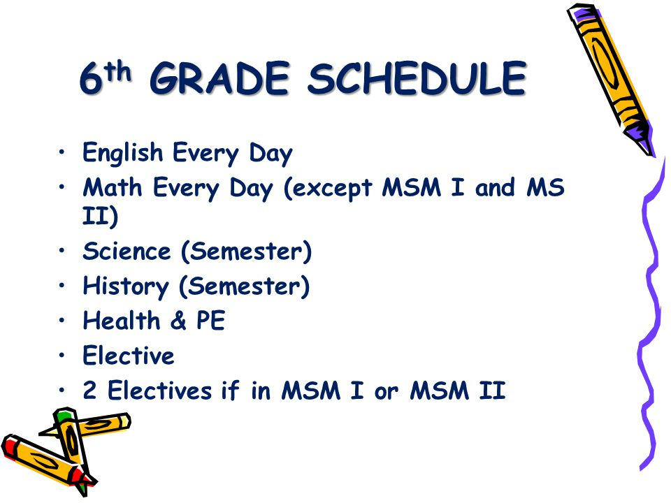 6 th GRADE SCHEDULE English Every Day Math Every Day (except MSM I and MS II) Science (Semester) History (Semester) Health & PE Elective 2 Electives if in MSM I or MSM II