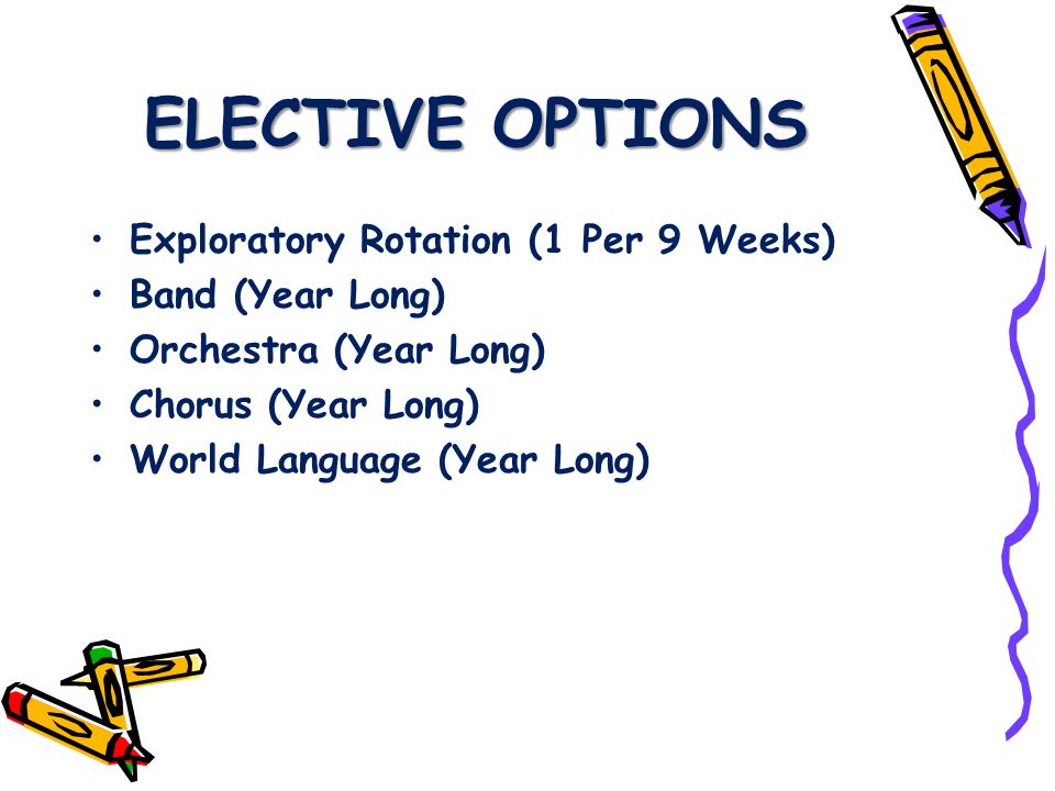 ELECTIVE OPTIONS Exploratory Rotation (1 Per 9 Weeks) Band (Year Long) Orchestra (Year Long) Chorus (Year Long) World Language (Year Long)