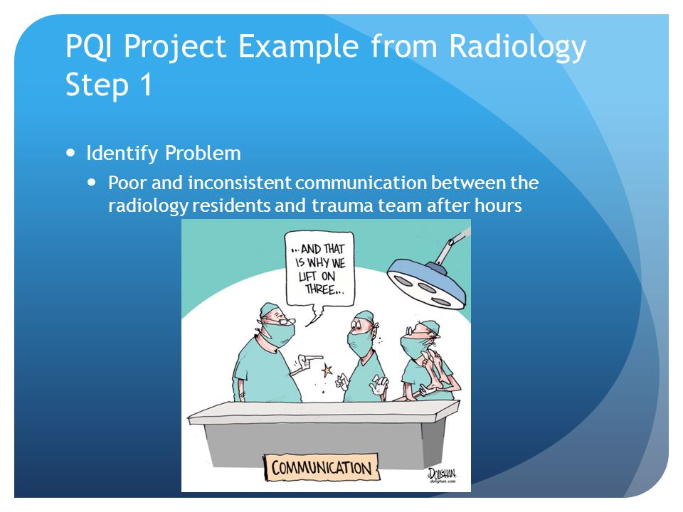PQI Project Example from Radiology Step 1 Identify Problem Poor and inconsistent communication between the radiology residents and trauma team after hours