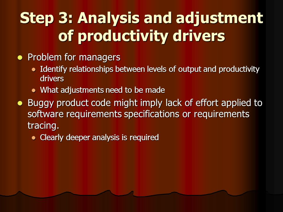 Step 3: Analysis and adjustment of productivity drivers Problem for managers Problem for managers Identify relationships between levels of output and productivity drivers Identify relationships between levels of output and productivity drivers What adjustments need to be made What adjustments need to be made Buggy product code might imply lack of effort applied to software requirements specifications or requirements tracing.