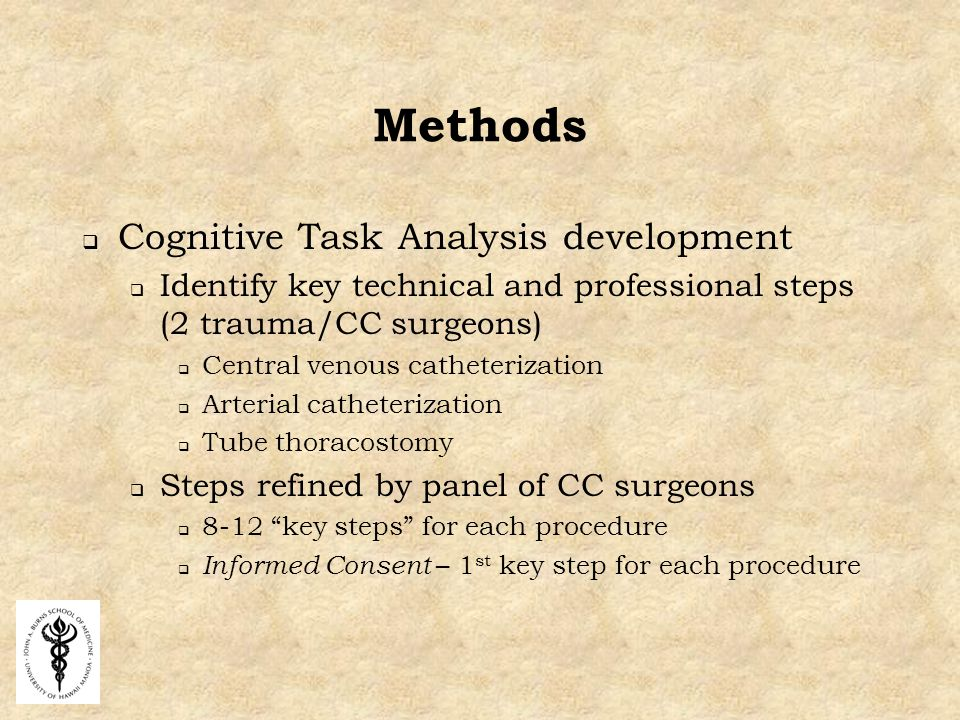 Methods  Cognitive Task Analysis development  Identify key technical and professional steps (2 trauma/CC surgeons)  Central venous catheterization  Arterial catheterization  Tube thoracostomy  Steps refined by panel of CC surgeons  8-12 key steps for each procedure  Informed Consent – 1 st key step for each procedure