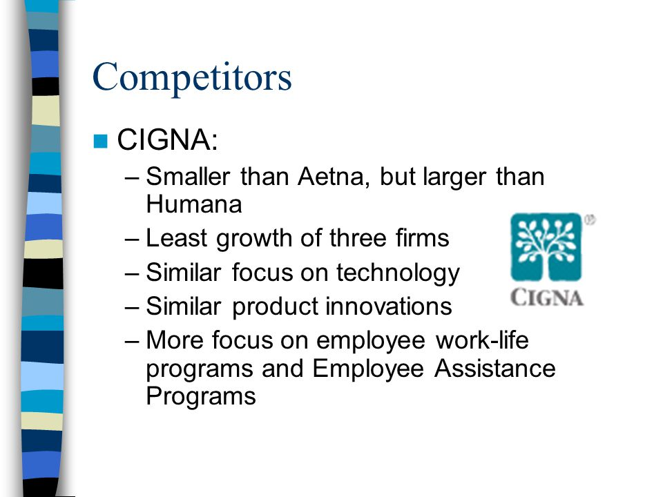 Competitors CIGNA: –Smaller than Aetna, but larger than Humana –Least growth of three firms –Similar focus on technology –Similar product innovations –More focus on employee work-life programs and Employee Assistance Programs