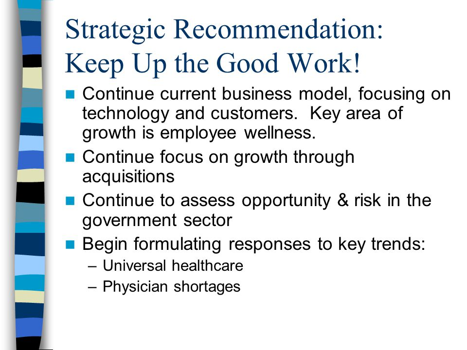 Strategic Recommendation: Keep Up the Good Work.