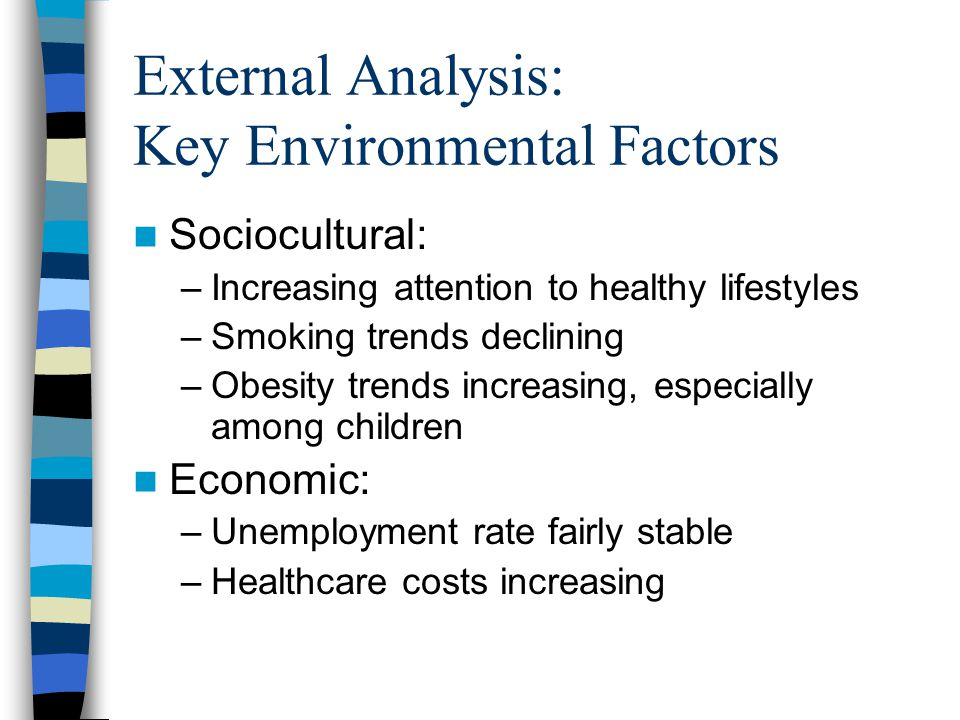 External Analysis: Key Environmental Factors Sociocultural: –Increasing attention to healthy lifestyles –Smoking trends declining –Obesity trends increasing, especially among children Economic: –Unemployment rate fairly stable –Healthcare costs increasing