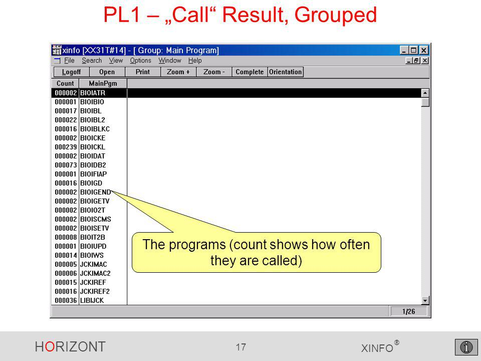 "HORIZONT 17 XINFO ® PL1 – ""Call Result, Grouped The programs (count shows how often they are called)"