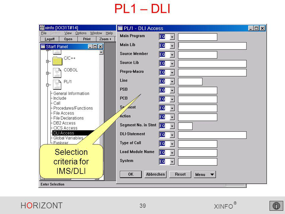 HORIZONT 39 XINFO ® PL1 – DLI Selection criteria for IMS/DLI