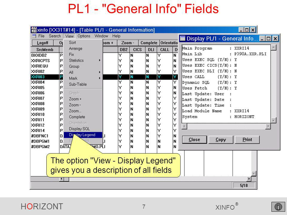 HORIZONT 7 XINFO ® PL1 - General Info Fields The option View - Display Legend gives you a description of all fields