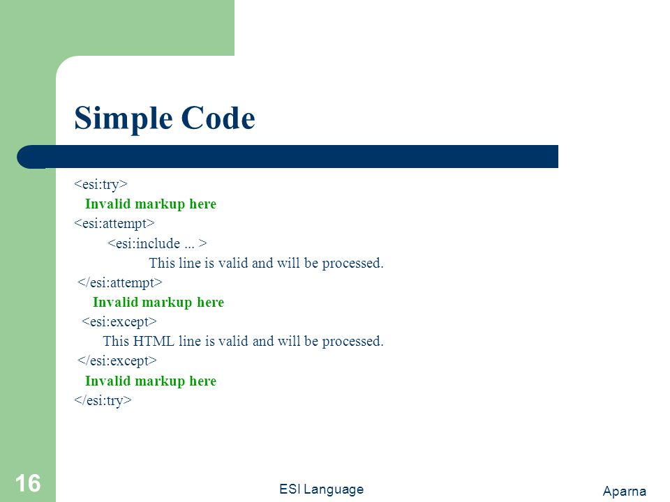 Aparna ESI Language 16 Simple Code Invalid markup here This line is valid and will be processed.