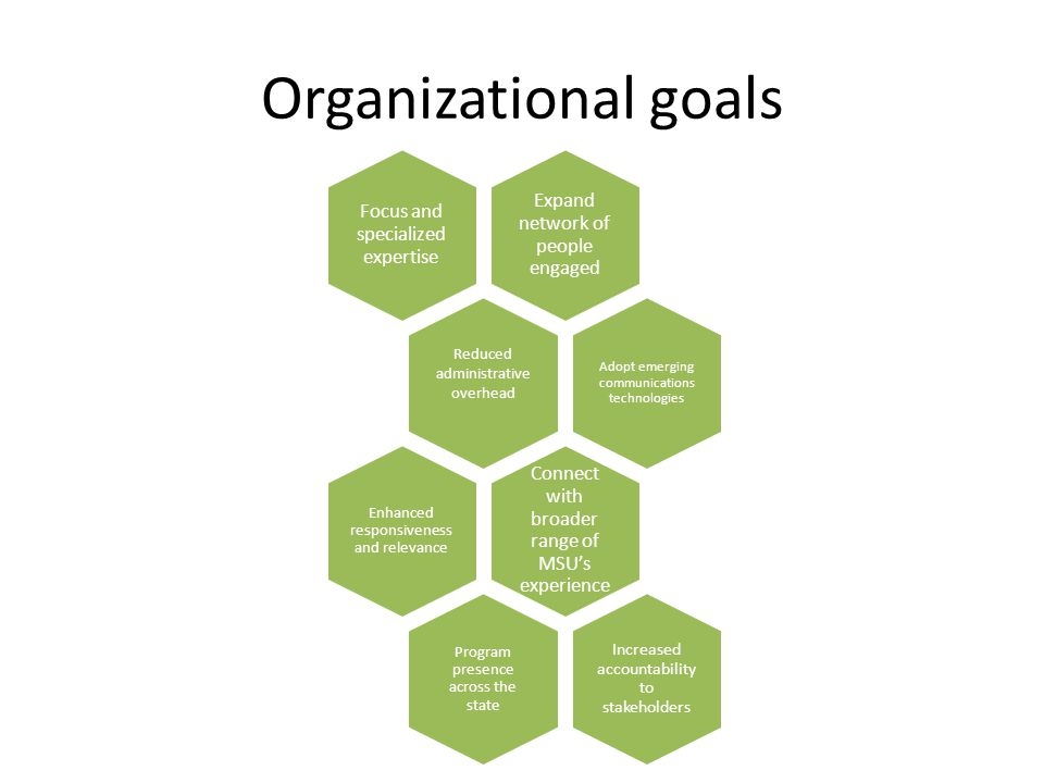 Organizational goals Expand network of people engaged Focus and specialized expertise Reduced administrative overhead Adopt emerging communications technologies Connect with broader range of MSU's experience Enhanced responsiveness and relevance Program presence across the state Increased accountability to stakeholders