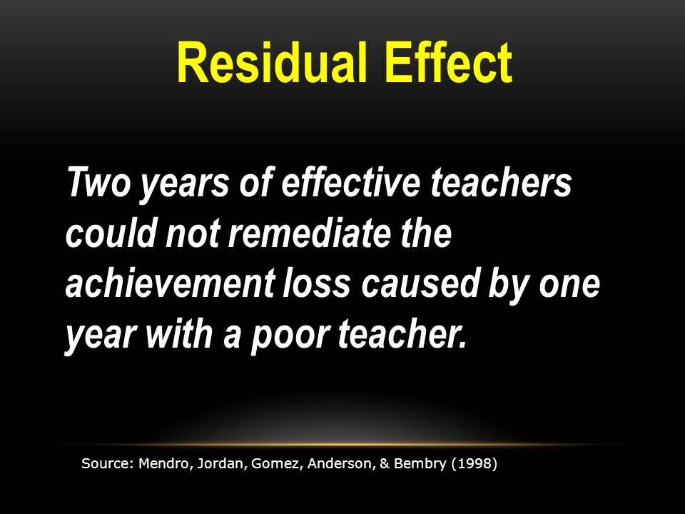 Two years of effective teachers could not remediate the achievement loss caused by one year with a poor teacher.