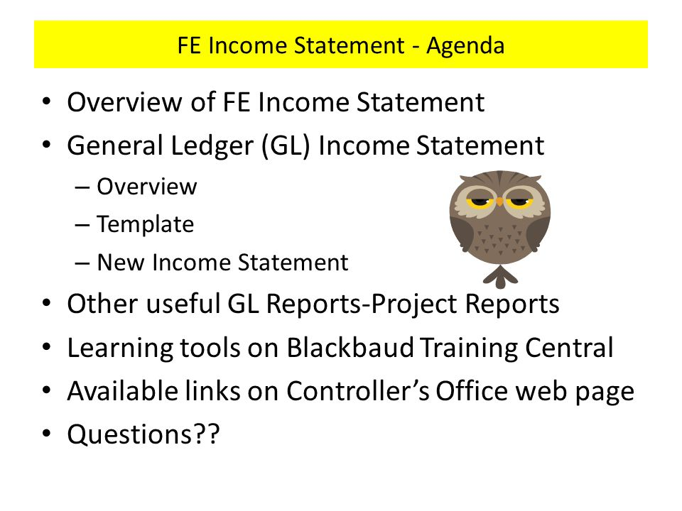 FE Income Statement - Agenda Overview of FE Income Statement General Ledger (GL) Income Statement – Overview – Template – New Income Statement Other useful GL Reports-Project Reports Learning tools on Blackbaud Training Central Available links on Controller's Office web page Questions