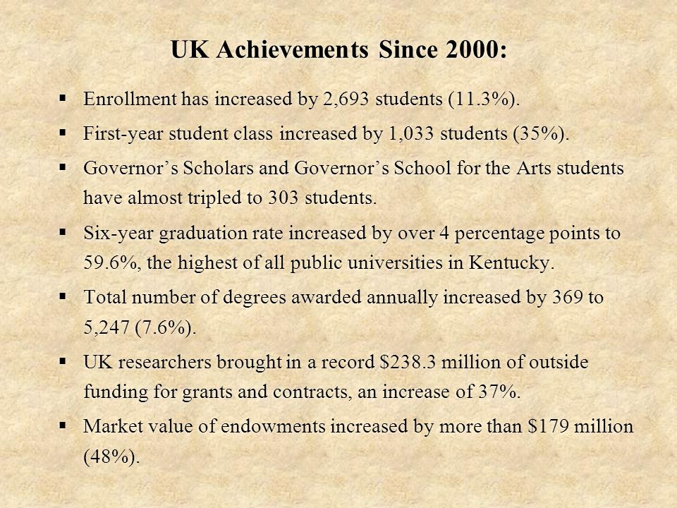 UK Achievements Since 2000:  Enrollment has increased by 2,693 students (11.3%).