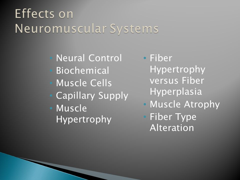 Neural Control Biochemical Muscle Cells Capillary Supply Muscle Hypertrophy Fiber Hypertrophy versus Fiber Hyperplasia Muscle Atrophy Fiber Type Alteration