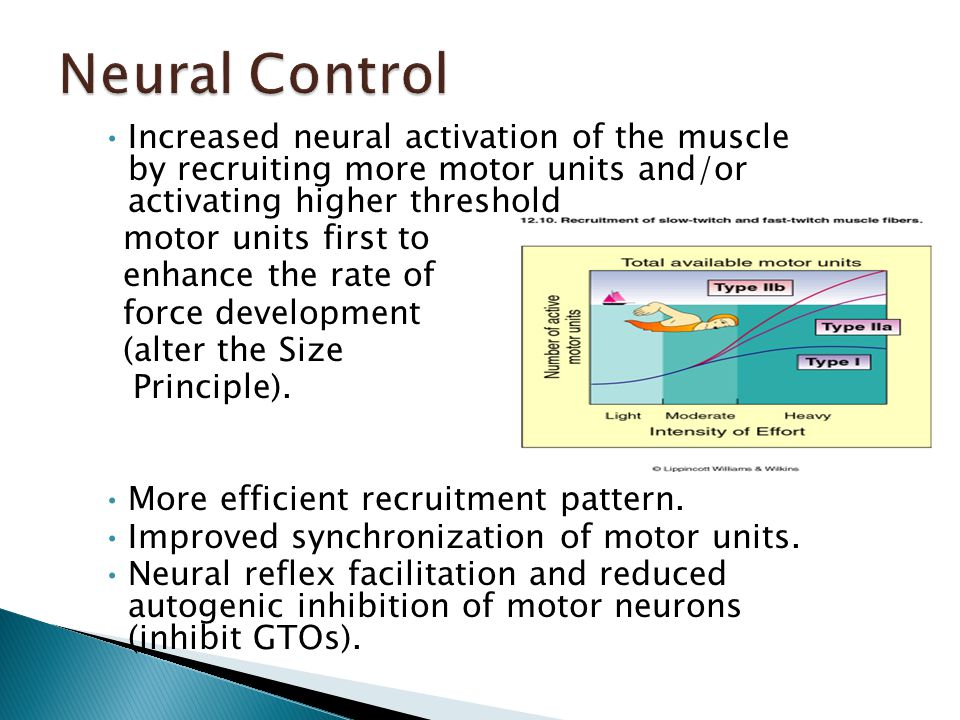 Increased neural activation of the muscle by recruiting more motor units and/or activating higher threshold motor units first to enhance the rate of force development (alter the Size Principle).