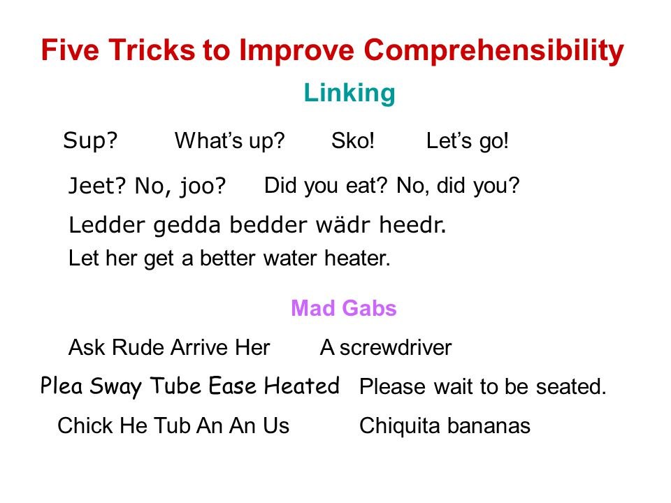Five Tricks to Improve Comprehensibility Linking Sup.