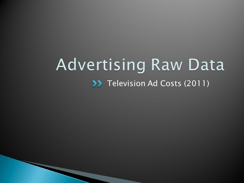 Television Ad Costs (2011)