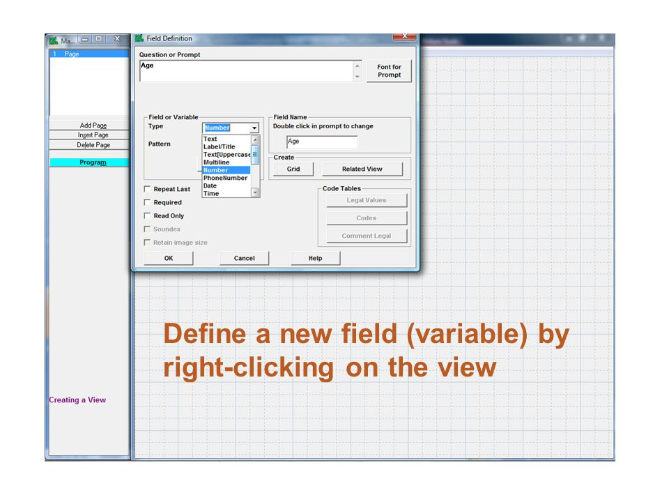 Define a new field (variable) by right-clicking on the view