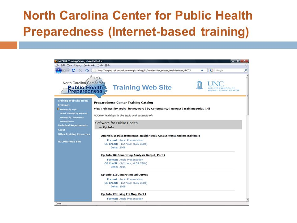 North Carolina Center for Public Health Preparedness (Internet-based training)