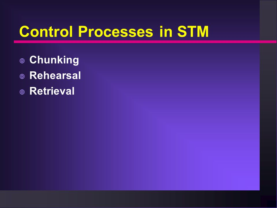 Control Processes in STM  Chunking  Rehearsal  Retrieval