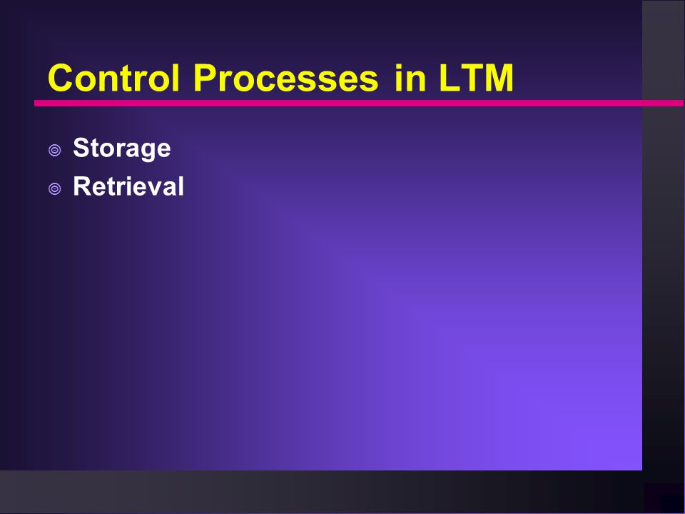 Control Processes in LTM  Storage  Retrieval