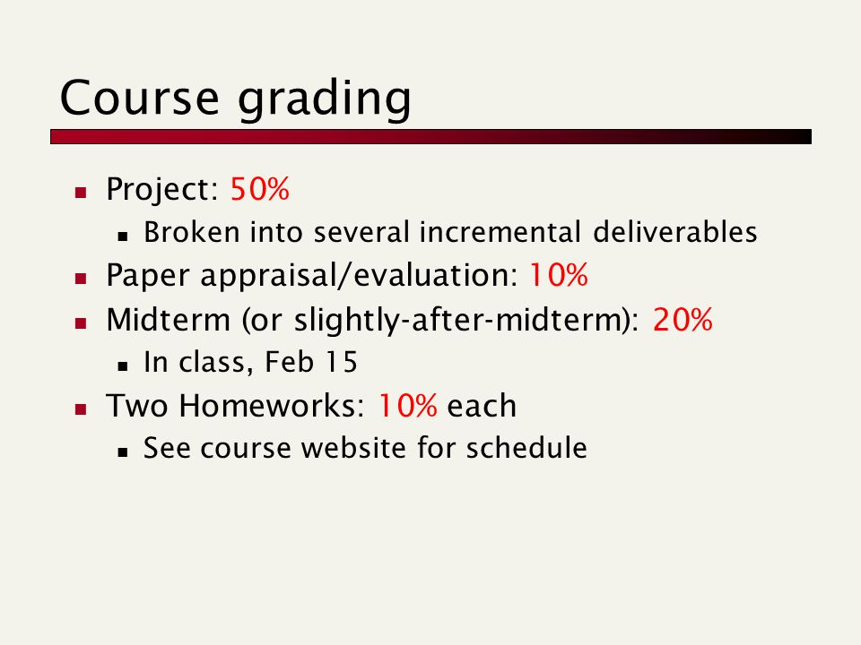 Course grading Project: 50% Broken into several incremental deliverables Paper appraisal/evaluation: 10% Midterm (or slightly-after-midterm): 20% In class, Feb 15 Two Homeworks: 10% each See course website for schedule