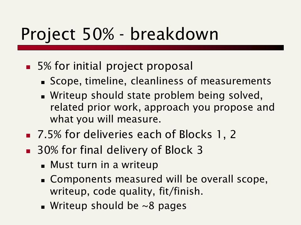 Project 50% - breakdown 5% for initial project proposal Scope, timeline, cleanliness of measurements Writeup should state problem being solved, related prior work, approach you propose and what you will measure.