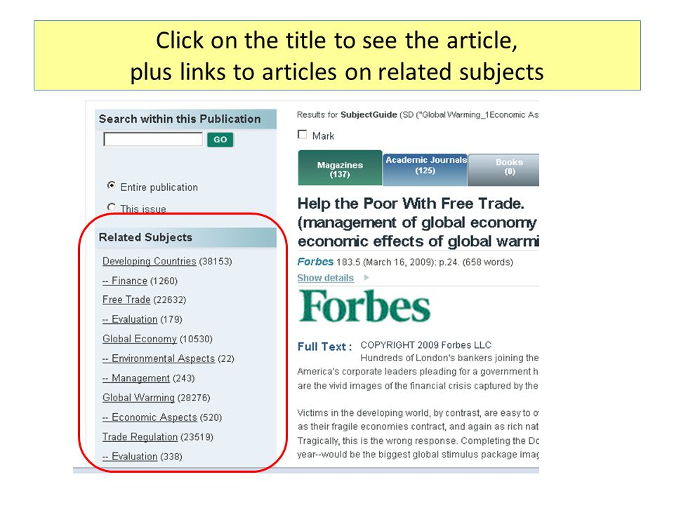 Click on the title to see the article, plus links to articles on related subjects