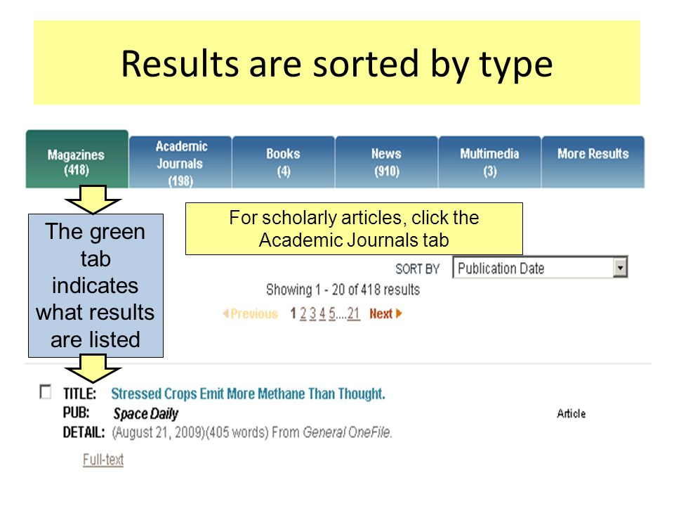 Results are sorted by type The green tab indicates what results are listed For scholarly articles, click the Academic Journals tab