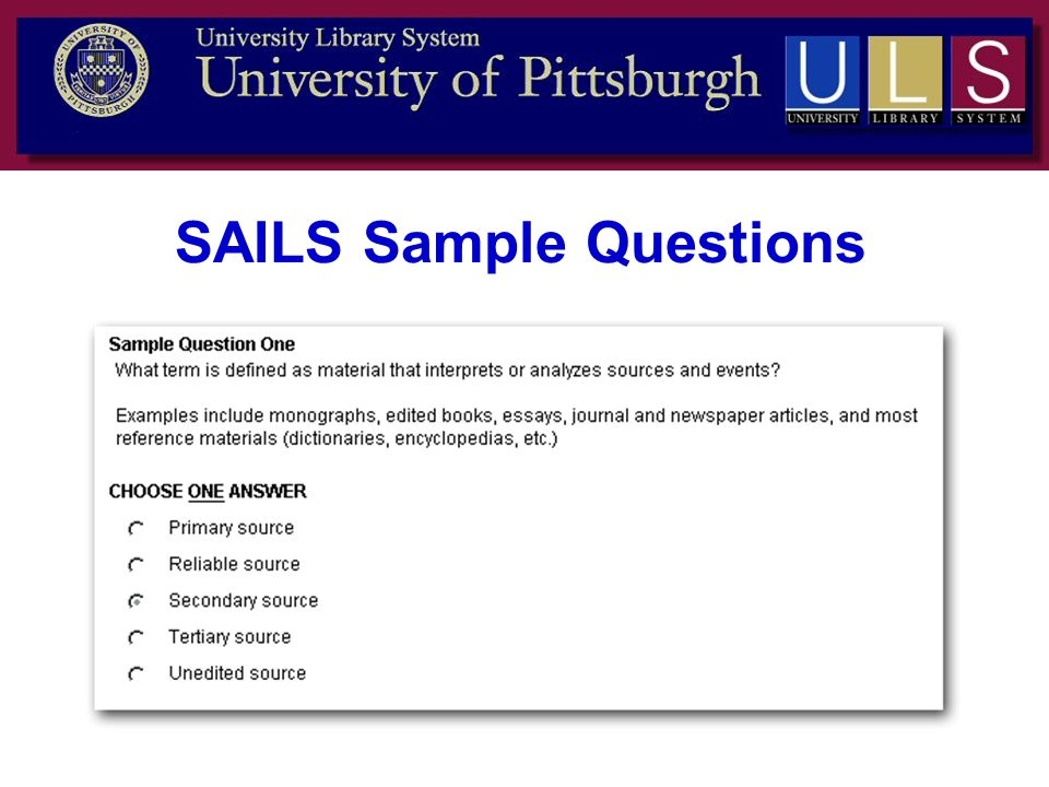 SAILS Sample Questions