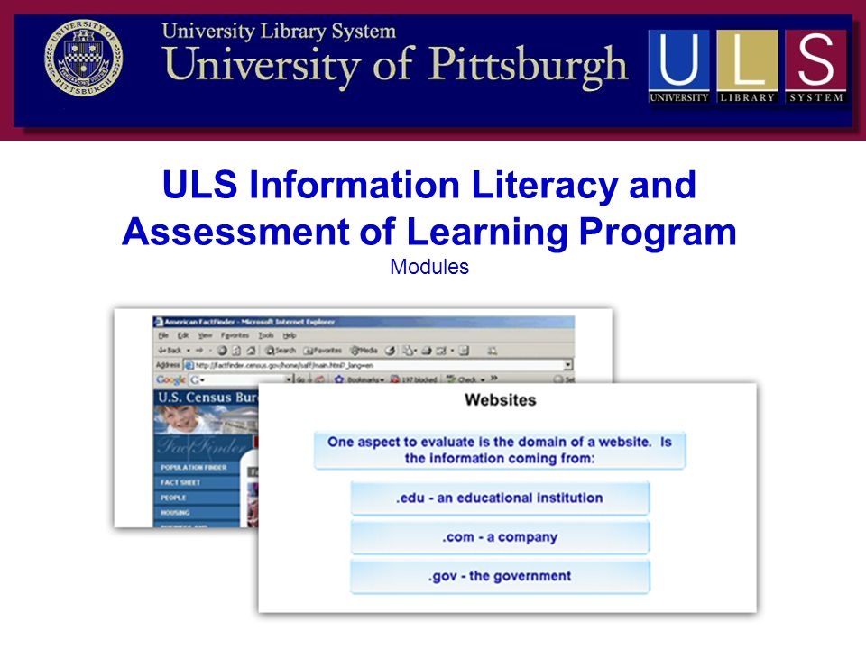 ULS Information Literacy and Assessment of Learning Program Modules
