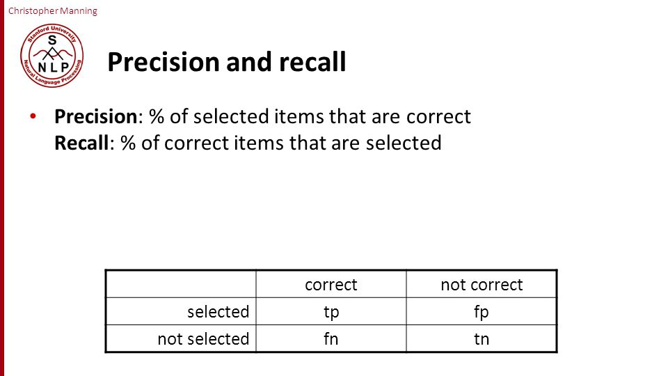 Christopher Manning Precision and recall Precision: % of selected items that are correct Recall: % of correct items that are selected correctnot correct selectedtpfp not selectedfntn
