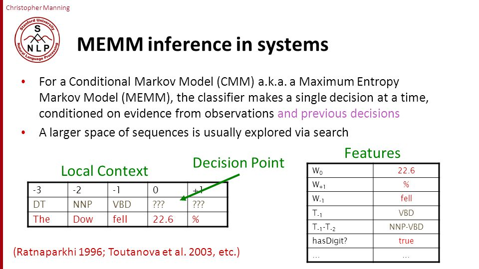 Christopher Manning MEMM inference in systems For a Conditional Markov Model (CMM) a.k.a.