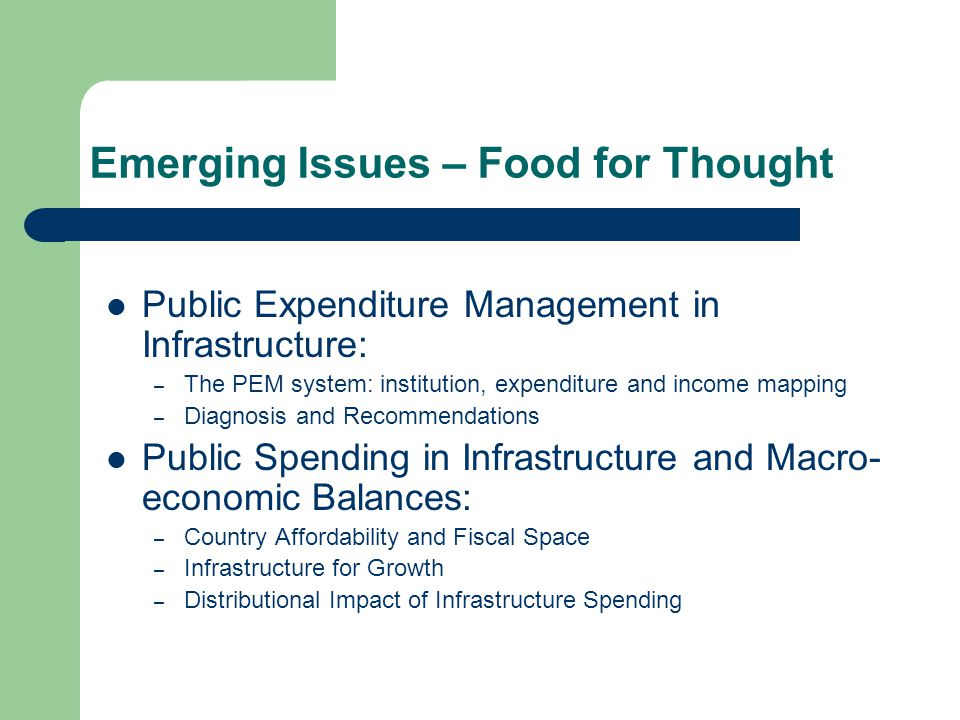Emerging Issues – Food for Thought Public Expenditure Management in Infrastructure: – The PEM system: institution, expenditure and income mapping – Diagnosis and Recommendations Public Spending in Infrastructure and Macro- economic Balances: – Country Affordability and Fiscal Space – Infrastructure for Growth – Distributional Impact of Infrastructure Spending