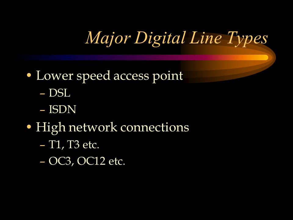 Major Digital Line Types Lower speed access point –DSL –ISDN High network connections –T1, T3 etc.