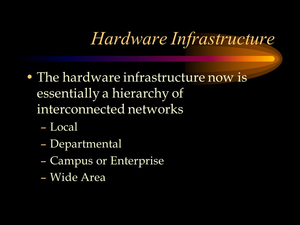 Hardware Infrastructure The hardware infrastructure now is essentially a hierarchy of interconnected networks –Local –Departmental –Campus or Enterprise –Wide Area