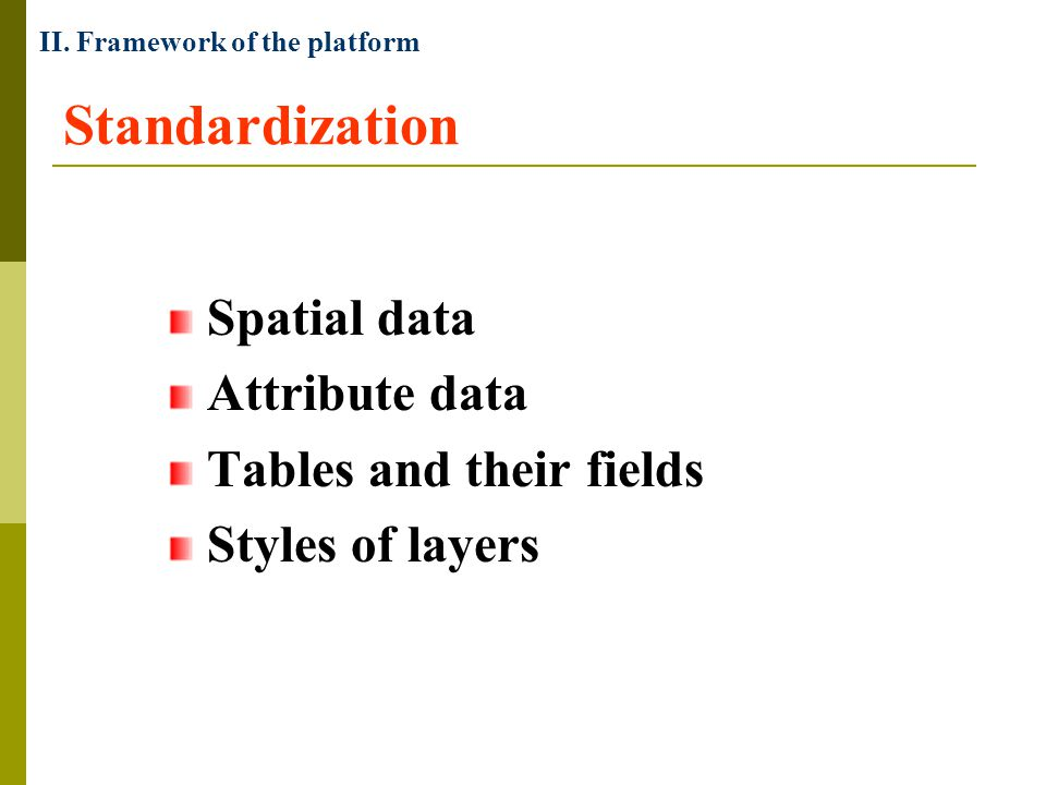 Standardization Spatial data Attribute data Tables and their fields Styles of layers II.