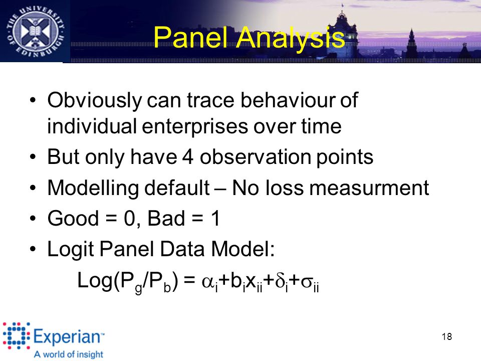 Panel Analysis Obviously can trace behaviour of individual enterprises over time But only have 4 observation points Modelling default – No loss measurment Good = 0, Bad = 1 Logit Panel Data Model: Log(P g /P b ) =  i +b i x ii +  i +  ii 18