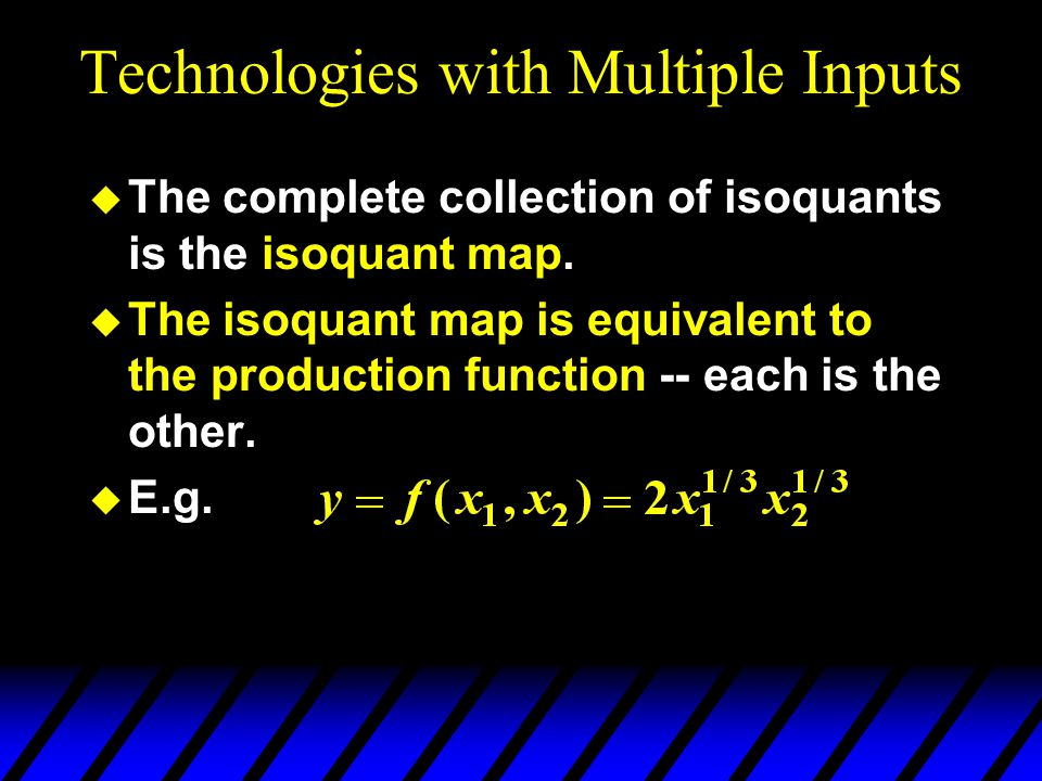 Technologies with Multiple Inputs  The complete collection of isoquants is the isoquant map.