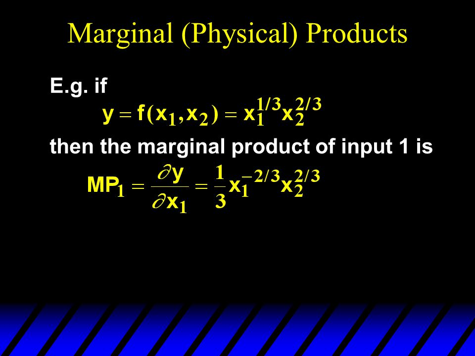 Marginal (Physical) Products E.g. if then the marginal product of input 1 is