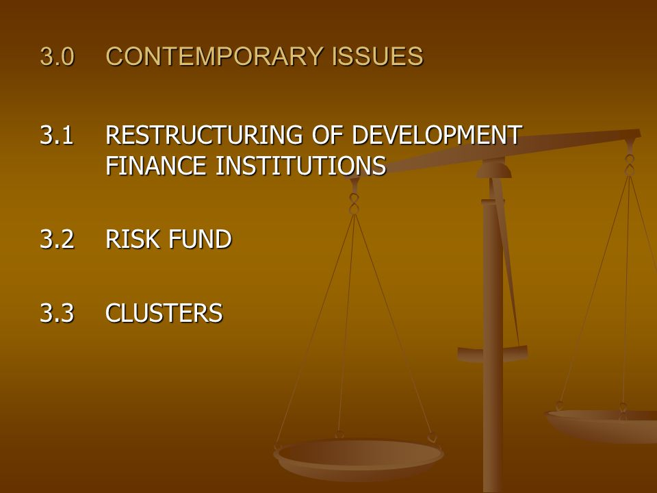 3.0CONTEMPORARY ISSUES 3.1RESTRUCTURING OF DEVELOPMENT FINANCE INSTITUTIONS 3.2RISK FUND 3.3CLUSTERS