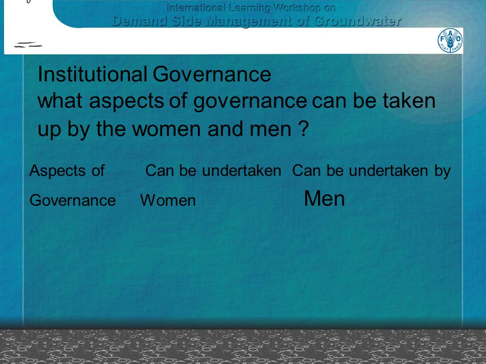 Institutional Governance what aspects of governance can be taken up by the women and men .