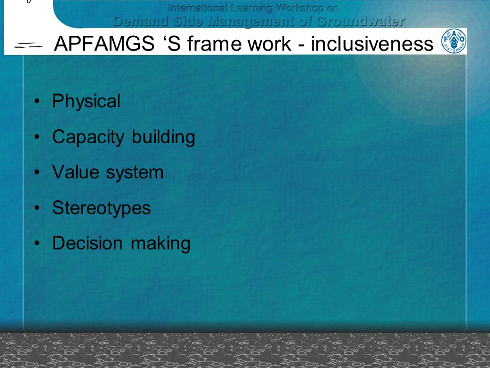 APFAMGS 'S frame work - inclusiveness Physical Capacity building Value system Stereotypes Decision making