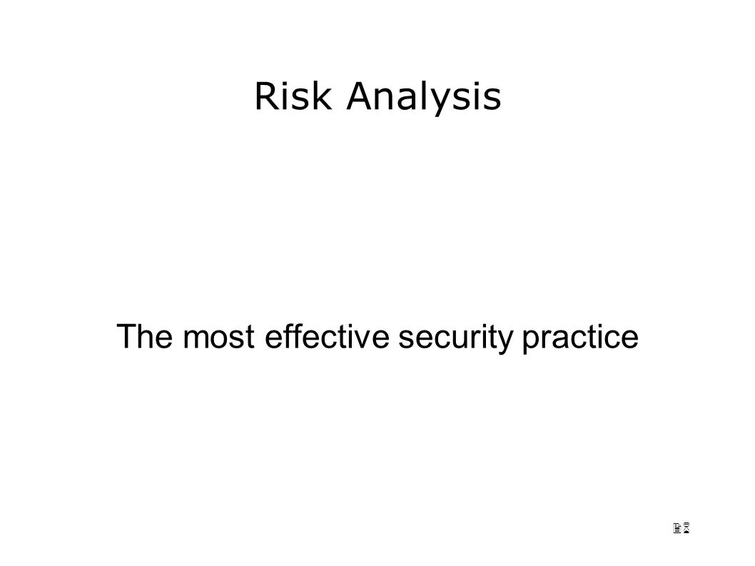 26 Risk Analysis The most effective security practice