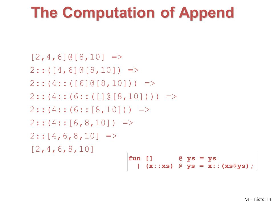 ML Lists.14 The Computation of Append [2,4,6]@[8,10] => 2::([4,6]@[8,10]) => 2::(4::([6]@[8,10])) => 2::(4::(6::([]@[8,10]))) => 2::(4::(6::[8,10])) => 2::(4::[6,8,10]) => 2::[4,6,8,10] => [2,4,6,8,10]