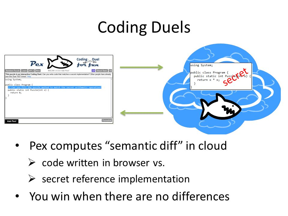 Pex computes semantic diff in cloud  code written in browser vs.