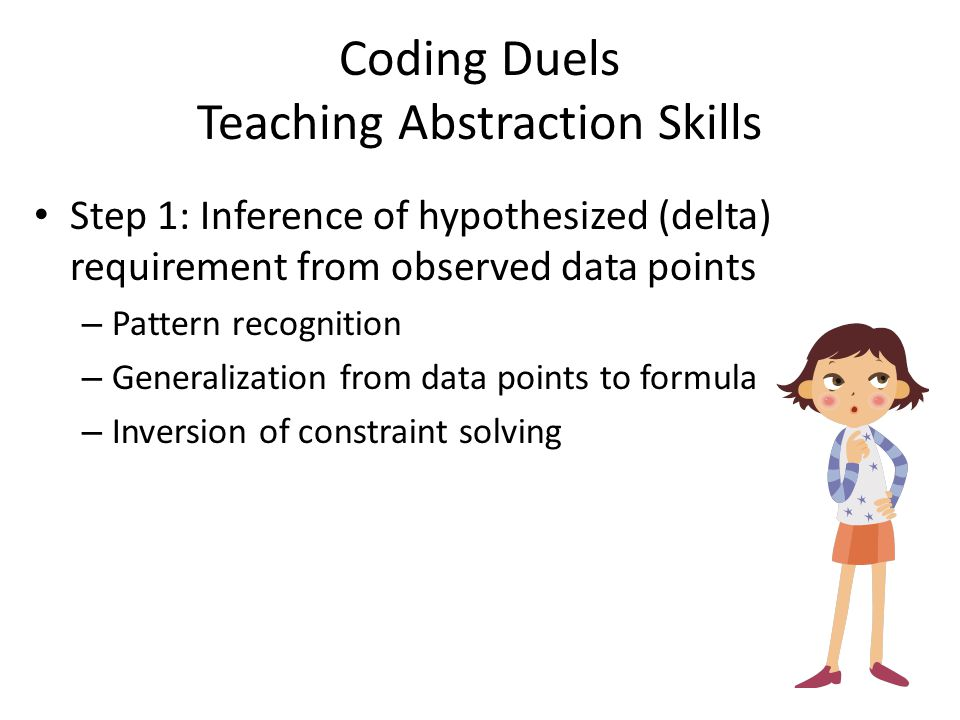 Coding Duels Teaching Abstraction Skills Step 1: Inference of hypothesized (delta) requirement from observed data points – Pattern recognition – Generalization from data points to formula – Inversion of constraint solving