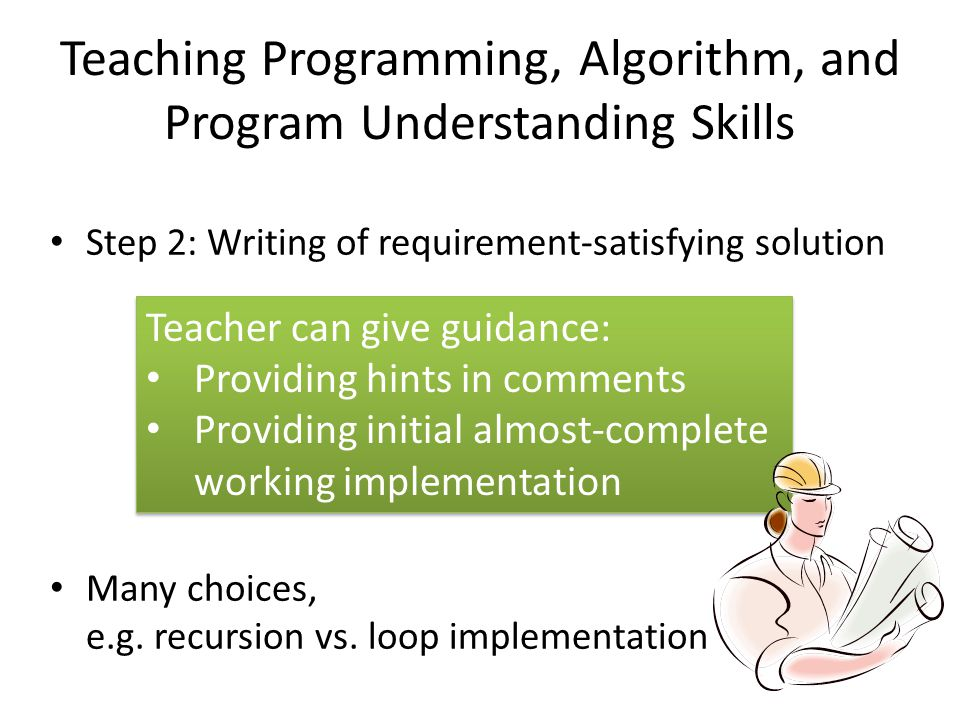 Teaching Programming, Algorithm, and Program Understanding Skills Step 2: Writing of requirement-satisfying solution Many choices, e.g.