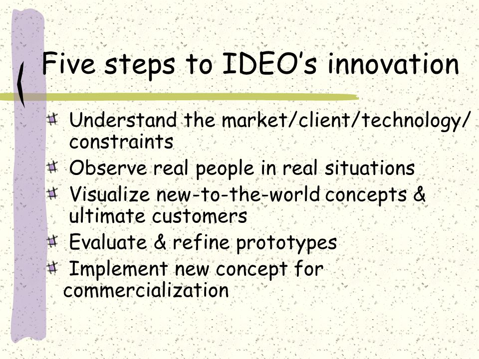 Five steps to IDEO's innovation Understand the market/client/technology/ constraints Observe real people in real situations Visualize new-to-the-world concepts & ultimate customers Evaluate & refine prototypes Implement new concept for commercialization